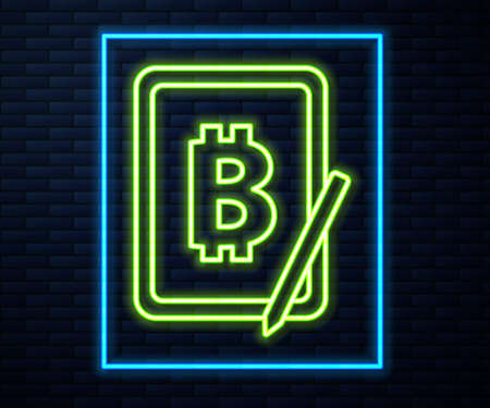 Glowing neon line Mining bitcoin from graphic tablet icon isolated on brick wall background. Cryptocurrency mining, blockchain technology service. Vector. 向量圖像