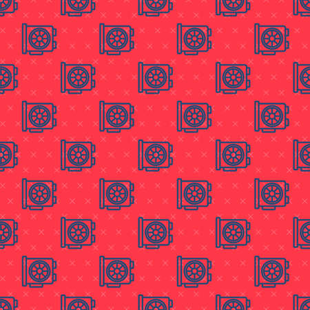 Blue line Video graphic card icon isolated seamless pattern on red background. Vector.