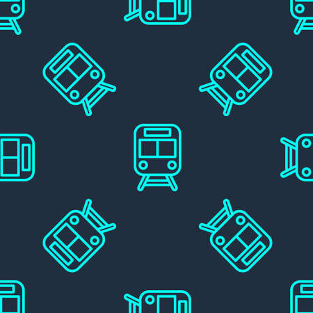 Green line Train and railway icon isolated seamless pattern on blue background. Public transportation symbol. Subway train transport. Metro underground. Vector.