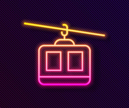 Glowing neon line Cable car icon isolated on black background. Funicular sign. Vector.