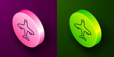 Isometric line Plane icon isolated on purple and green background. Flying airplane icon. Airliner sign. Circle button. Vector.