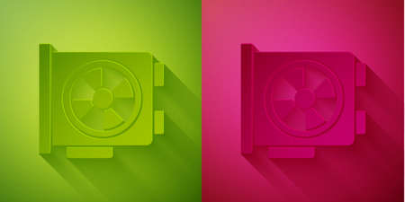 Paper cut Video graphic card icon isolated on green and pink background. Paper art style. Vector. 向量圖像