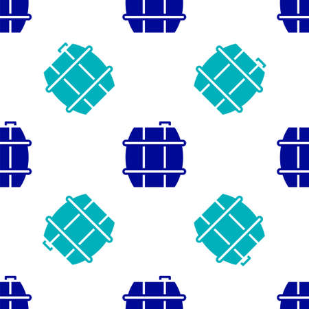 Blue Wooden barrel for wine icon isolated seamless pattern on white background. Vector.