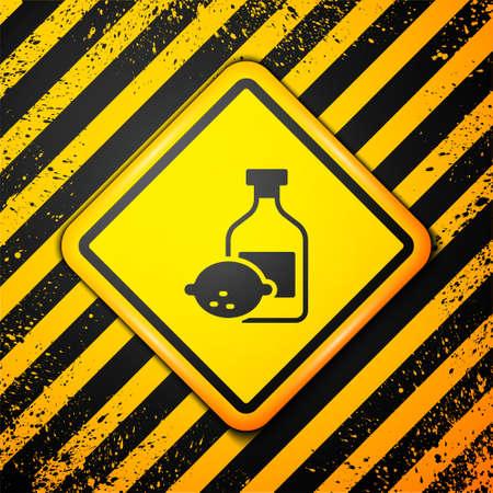 Black Limoncello bottle icon isolated on yellow background. Bottle of fresh homemade lemonade. Warning sign. Vector. Vettoriali