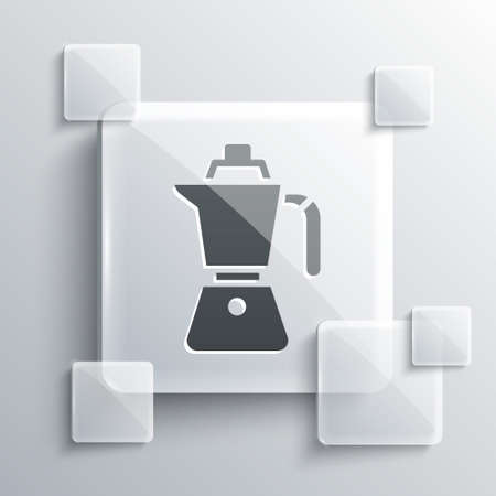 Grey Coffee maker moca pot icon isolated on grey background. Square glass panels. Vector.
