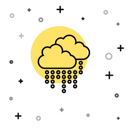 Black line Cloud with rain icon isolated on white background. Rain cloud precipitation with rain drops. Random dynamic shapes. Vector.