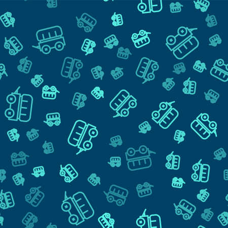 Green line Wild west covered wagon icon isolated seamless pattern on blue background. Vector. Vector Illustratie