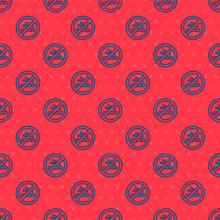 Blue line No Smoking icon isolated seamless pattern on red background. Cigarette symbol. Vector. 일러스트
