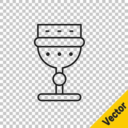 Black line Medieval goblet icon isolated on transparent background. Vector.