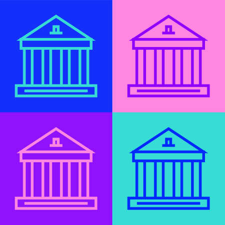 Pop art line Museum building icon isolated on color background. Vector.