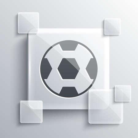 Grey Football ball icon isolated on grey background. Soccer ball. Sport equipment. Square glass panels. Vector. Illusztráció