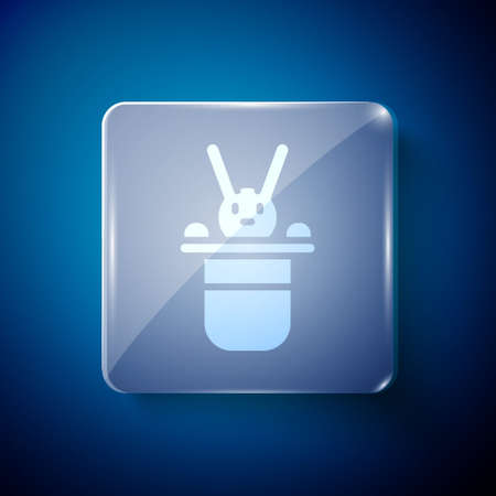 White Magician hat and rabbit icon isolated on blue background. Magic trick. Mystery entertainment concept. Square glass panels. Vector.