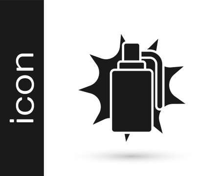 Black Hand grenade icon isolated on white background. Bomb explosion. Vector.