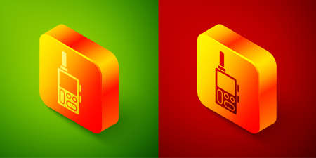 Isometric Walkie talkie icon isolated on green and red background. Portable radio transmitter icon. Radio transceiver sign. Square button. Vector.