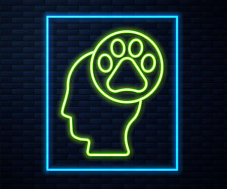 Glowing neon line Human head with animals footprint icon isolated on brick wall background. Pet paw in heart. Love to the animals. Vector.  イラスト・ベクター素材