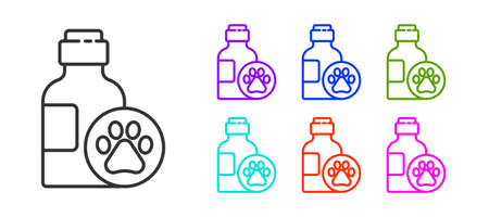 Black line Pet shampoo icon isolated on white background. Pets care sign. Dog cleaning symbol. Set icons colorful. Vector.