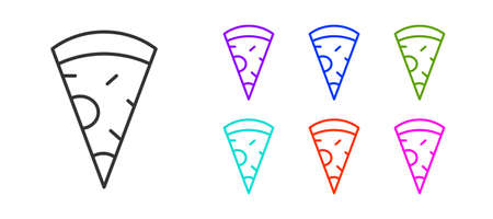 Black line Slice of pizza icon isolated on white background. Fast food menu. Set icons colorful. Vector. Ilustrace