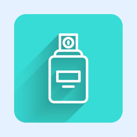 White line Perfume icon isolated with long shadow. Green square button. Vector. 向量圖像