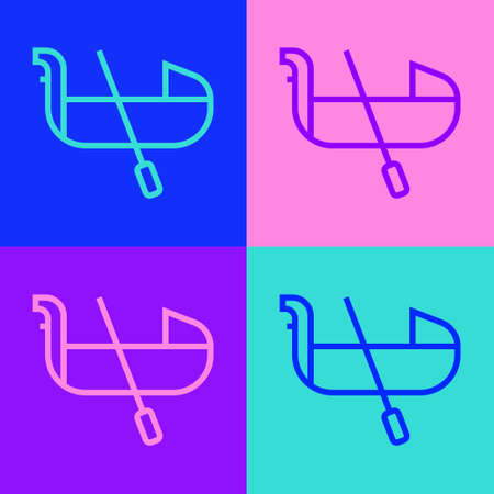 Pop art line Gondola boat italy venice icon isolated on color background. Tourism rowing transport romantic. Vector. 向量圖像
