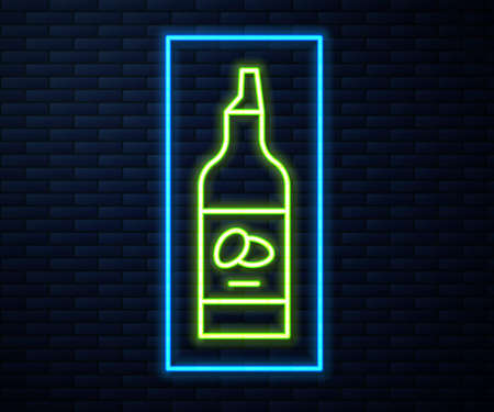 Glowing neon line Bottle of olive oil icon isolated on brick wall background. Jug with olive oil icon. Vector.