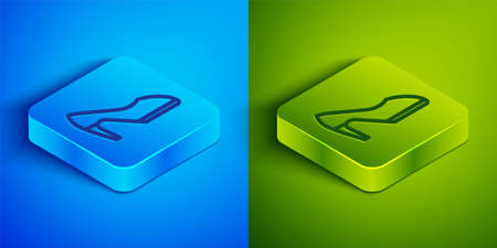 Isometric line Woman shoe with high heel icon isolated on blue and green background. Square button. Vector. 向量圖像