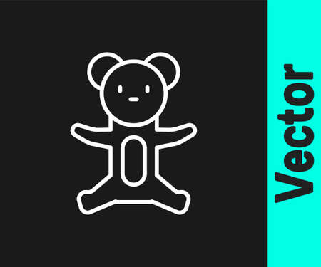 White line Teddy bear plush toy icon isolated on black background. Vector.