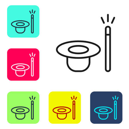 Black line Magic hat and wand icon isolated on white background. Magic trick. Mystery entertainment concept. Set icons in color square buttons. Vector.