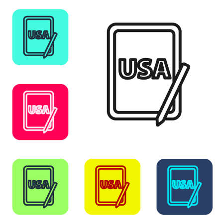 Black line USA United states of america on graphic tablet icon isolated on white background. Set icons in color square buttons. Vector.