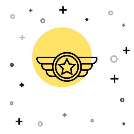 Black line Star American military icon isolated on white background. Military badges. Army patches. Random dynamic shapes. Vector.