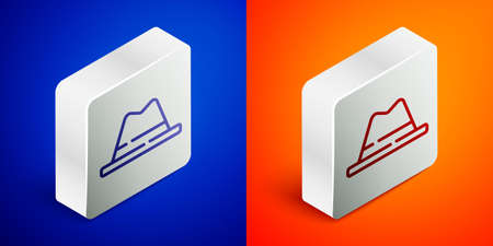 Isometric line Man hat with ribbon icon isolated on blue and orange background. Silver square button. Vector.
