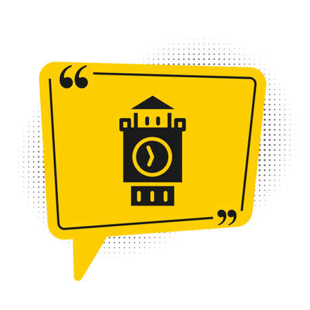 Black Big Ben tower icon isolated on white background. Symbol of London and United Kingdom. Yellow speech bubble symbol. Vector.