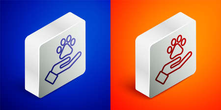 Isometric line Hands with animals footprint icon isolated on blue and orange background. Pet paw in heart. Love to the animals. Silver square button. Vector.