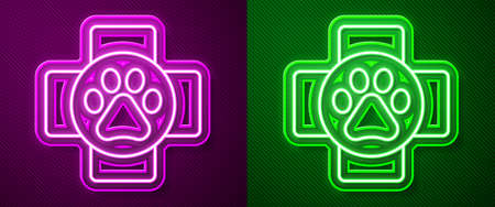 Glowing neon line Veterinary clinic symbol icon isolated on purple and green background. Cross hospital sign. A stylized paw print dog or cat. Pet First Aid sign. Vector.