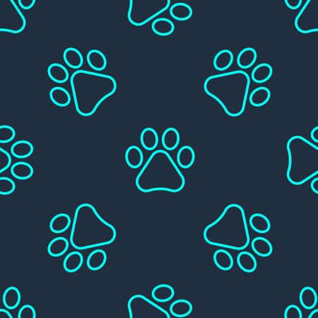 Green line Paw print icon isolated seamless pattern on blue background. Dog or cat paw print. Animal track. Vector.