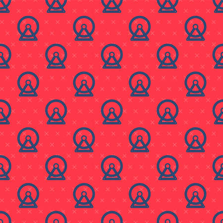 Blue line Hamster wheel icon isolated seamless pattern on red background. Wheel for rodents. Pet shop. Vector.