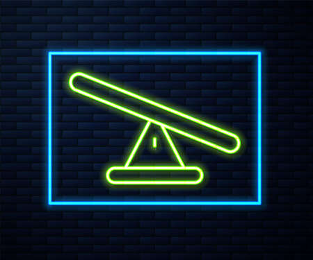 Glowing neon line Seesaw icon isolated on brick wall background. Teeter equal board. Playground symbol. Vector. Illustration