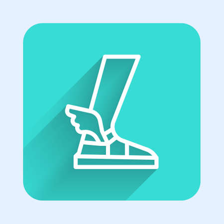 White line Hermes sandal icon isolated with long shadow. Ancient greek god Hermes. Running shoe with wings. Green square button. Vector. Illustration