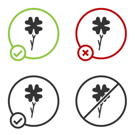 Black Four leaf clover icon isolated on white background. Happy Saint Patrick day. Circle button. Vector.