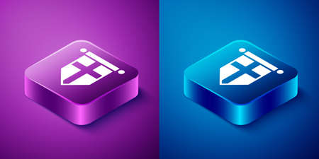 Isometric England flag on pennant icon isolated on blue and purple background. Square button. Vector. 写真素材 - 150747465