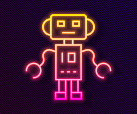 Glowing neon line Robot toy icon isolated on black background. Vector. 向量圖像