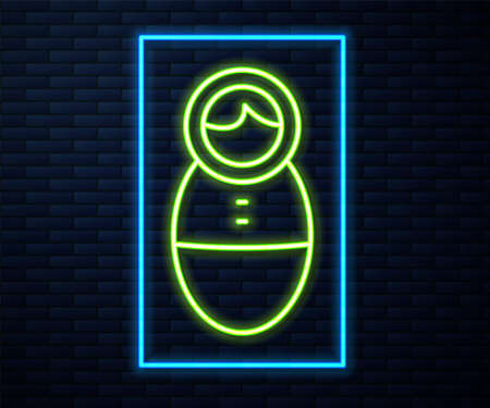 Glowing neon line Tumbler doll toy icon isolated on brick wall background. Vector.