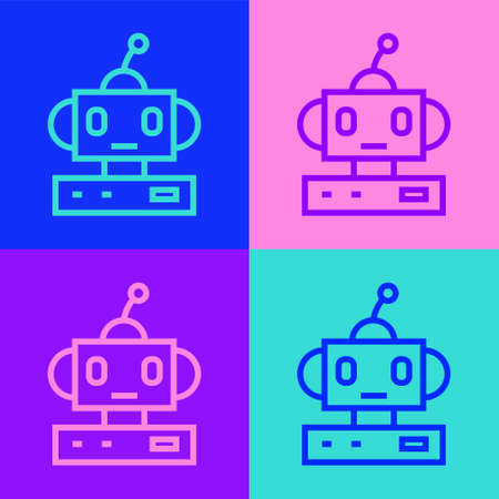Pop art line Robot toy icon isolated on color background. Vector.