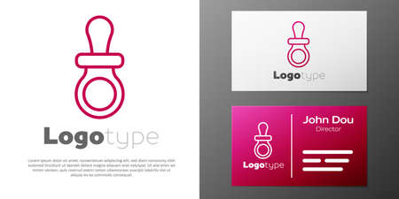 Logotype line Baby dummy pacifier icon isolated on white background. Toy of a child. Logo design template element. Vector.