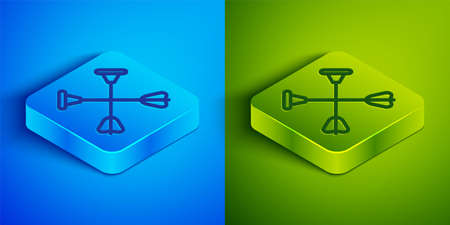 Isometric line Arrow with sucker tip icon isolated on blue and green background. Square button. Vector.