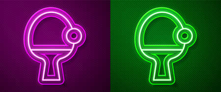 Glowing neon line Racket for playing table tennis icon isolated on purple and green background. Vector. Vectores