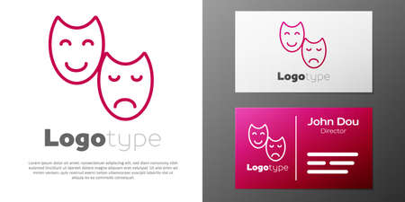 Logotype line Comedy and tragedy theatrical masks icon isolated on white background. Logo design template element. Vector.