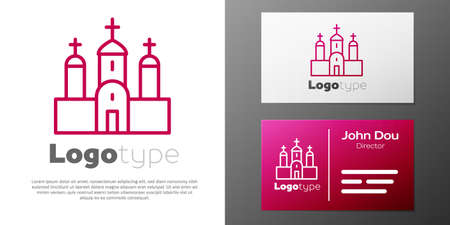 Logotype line Church building icon isolated on white background. Christian Church. Religion of church. Logo design template element. Vector.