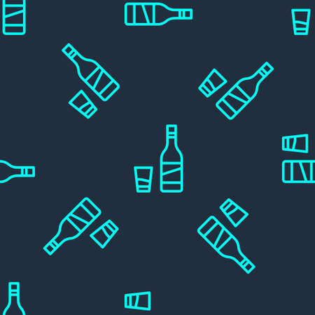Green line Bottle of vodka with glass icon isolated seamless pattern on blue background. Vector.