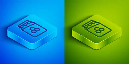 Isometric line Jar of honey icon isolated on blue and green background. Food bank. Sweet natural food symbol. Square button. Vector. 일러스트