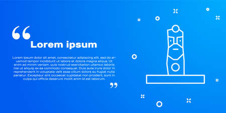 White line Slavic pagan idol icon isolated on blue background. Antique ritual wooden idol. Vector.